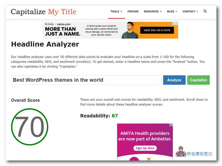 Headline Analyzer by Capitalize My Title